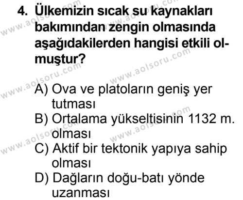 Coğrafya 4 Dersi 2014 - 2015 Yılı 2. Dönem Sınav Soruları 4. Soru