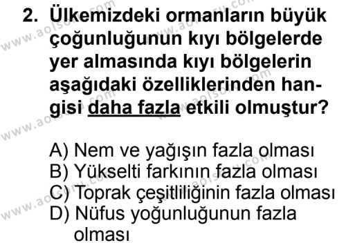 Coğrafya 4 Dersi 2015-2016 Yılı 1. Dönem Sınavı 2. Soru