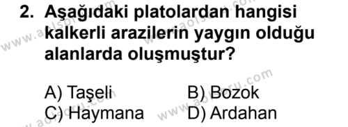 Coğrafya 4 Dersi 2017 - 2018 Yılı 2. Dönem Sınavı 2. Soru