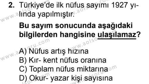 Coğrafya 4 Dersi 2018 - 2019 Yılı 1. Dönem Sınavı 2. Soru