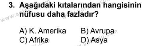 Coğrafya 4 Dersi 2018 - 2019 Yılı 1. Dönem Sınavı 3. Soru