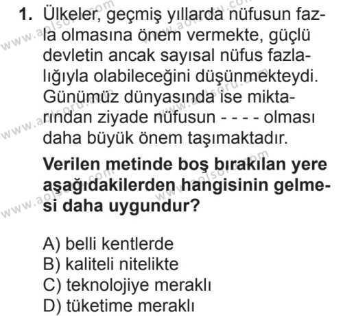 Coğrafya 4 Dersi 2018 - 2019 Yılı 2. Dönem Sınavı 1. Soru