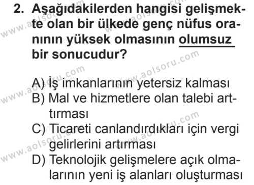 Coğrafya 4 Dersi 2018 - 2019 Yılı 2. Dönem Sınavı 2. Soru