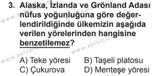 Coğrafya 4 Dersi 2018 - 2019 Yılı 2. Dönem Sınavı 3. Soru