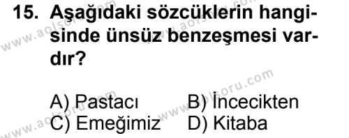 Dil ve Anlatım 1 Dersi 2012-2013 Yılı 1. Dönem Sınavı 15. Soru