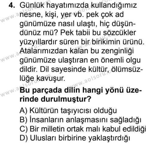 Dil ve Anlatım 1 Dersi 2017 - 2018 Yılı Ek Sınavı 4. Soru