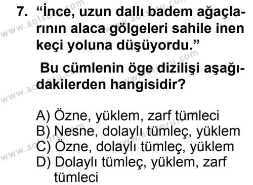 Dil ve Anlatım 2 Dersi 2012-2013 Yılı 1. Dönem Sınavı 7. Soru