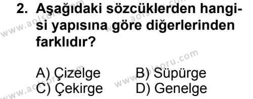 Dil ve Anlatım 2 Dersi 2012 - 2013 Yılı 2. Dönem Sınavı 2. Soru