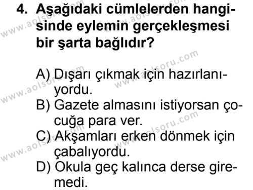 Dil ve Anlatım 2 Dersi 2012 - 2013 Yılı 2. Dönem Sınavı 4. Soru