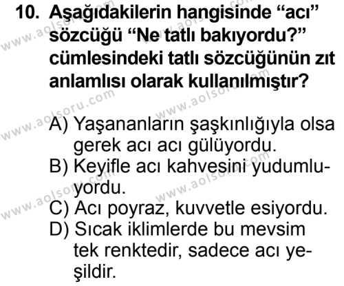 Dil ve Anlatım 2 Dersi 2013-2014 Yılı 1. Dönem Sınavı 10. Soru