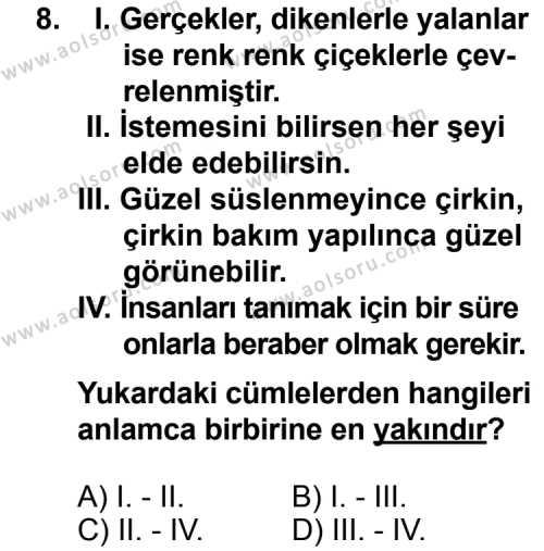 Dil ve Anlatım 2 Dersi 2014-2015 Yılı 1. Dönem Sınavı 8. Soru
