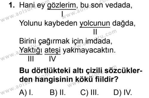 Dil ve Anlatım 2 Dersi 2017 - 2018 Yılı Ek Sınavı 1. Soru