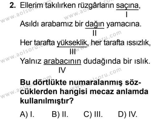 Dil ve Anlatım 2 Dersi 2017 - 2018 Yılı Ek Sınavı 2. Soru