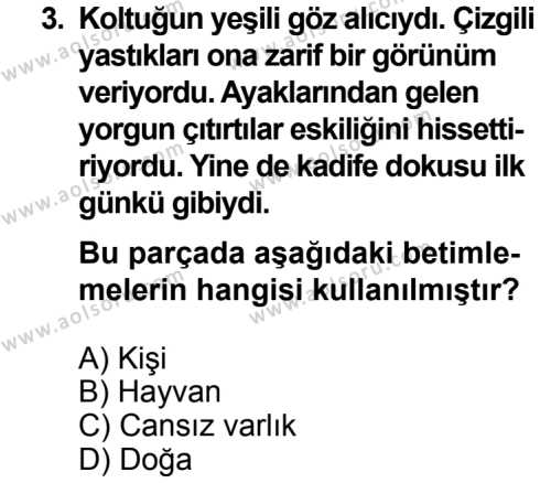 Dil ve Anlatım 4 Dersi 2013 - 2014 Yılı 3. Dönem Sınavı 3. Soru