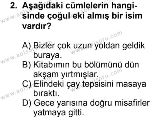 Dil ve Anlatım 4 Dersi 2014 - 2015 Yılı Ek Sınav Soruları 2. Soru