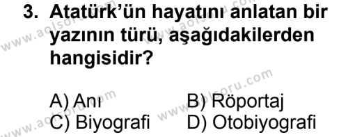 Dil ve Anlatım 5 Dersi 2011 - 2012 Yılı Ek Sınav Soruları 3. Soru