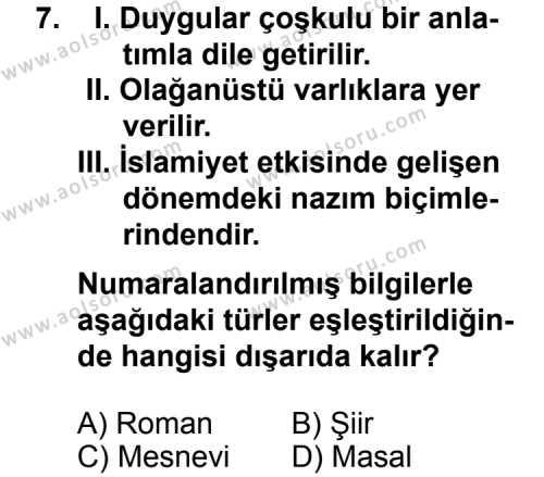 Dil ve Anlatım 5 Dersi 2014-2015 Yılı 1. Dönem Sınavı 7. Soru