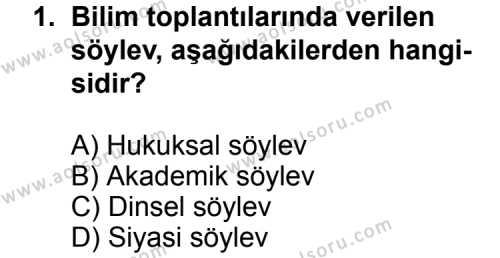 Dil ve Anlatım 6 Dersi 2012 - 2013 Yılı 3. Dönem Sınav Soruları 1. Soru