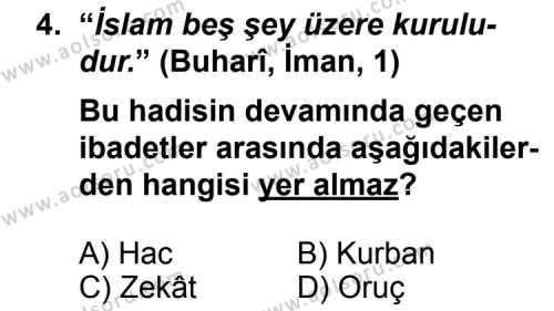 Din Kültürü ve Ahlak Bilgisi 1 Dersi 2011 - 2012 Yılı Ek Sınav Soruları 4. Soru