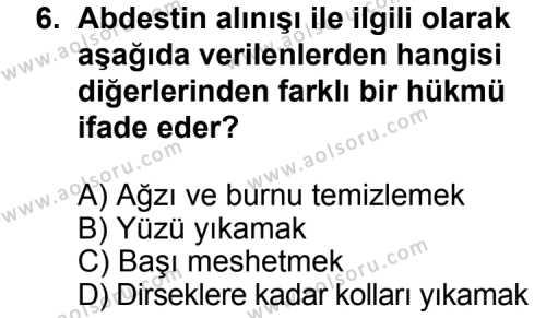 Din Kültürü ve Ahlak Bilgisi 1 Dersi 2012-2013 Yılı 1. Dönem Sınavı 6. Soru