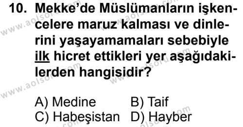 Din Kültürü ve Ahlak Bilgisi 1 Dersi 2013-2014 Yılı 1. Dönem Sınavı 10. Soru
