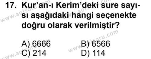 Din Kültürü ve Ahlak Bilgisi 1 Dersi 2013-2014 Yılı 1. Dönem Sınavı 17. Soru