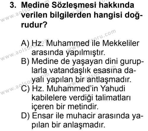 Din Kültürü ve Ahlak Bilgisi 1 Dersi 2014 - 2015 Yılı Ek Sınav Soruları 3. Soru