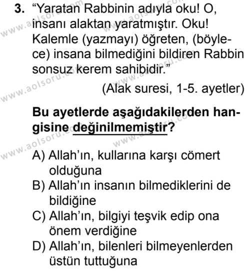 Din Kültürü ve Ahlak Bilgisi 1 Dersi 2018 - 2019 Yılı 1. Dönem Sınavı 3. Soru