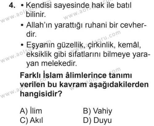 Din Kültürü ve Ahlak Bilgisi 1 Dersi 2018 - 2019 Yılı 2. Dönem Sınav Soruları 4. Soru