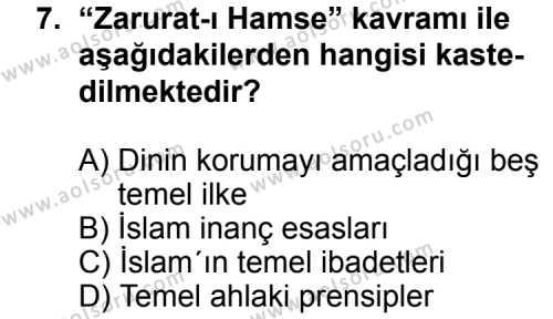 Din Kültürü ve Ahlak Bilgisi 2 Dersi 2012-2013 Yılı 1. Dönem Sınavı 7. Soru