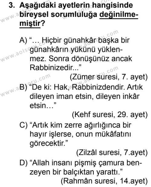 Din Kültürü ve Ahlak Bilgisi 2 Dersi 2017-2018 Yılı 1. Dönem Sınavı 3. Soru