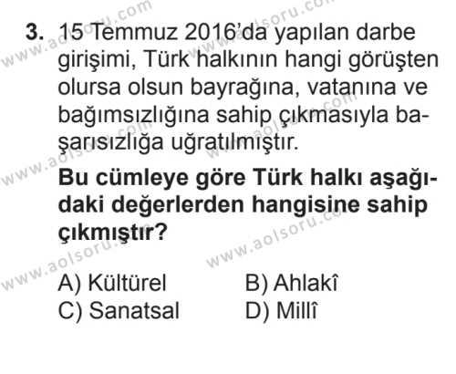 Din Kültürü ve Ahlak Bilgisi 2 Dersi 2017 - 2018 Yılı 3. Dönem Sınavı 3. Soru