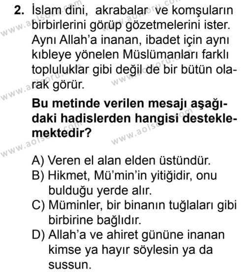 Din Kültürü ve Ahlak Bilgisi 2 Dersi 2018 - 2019 Yılı 1. Dönem Sınav Soruları 2. Soru