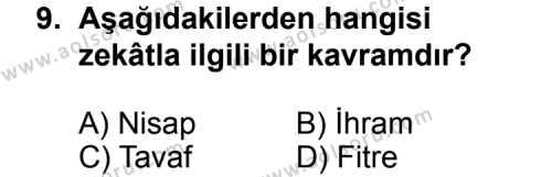 Din Kültürü ve Ahlak Bilgisi 3 Dersi 2013-2014 Yılı 1. Dönem Sınavı 9. Soru