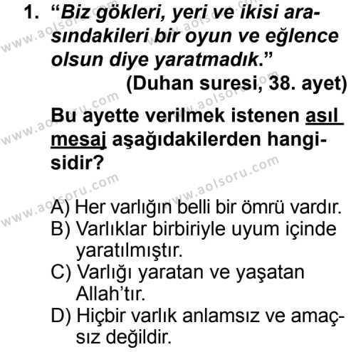 Din Kültürü ve Ahlak Bilgisi 3 Dersi 2013 - 2014 Yılı 3. Dönem Sınav Soruları 1. Soru