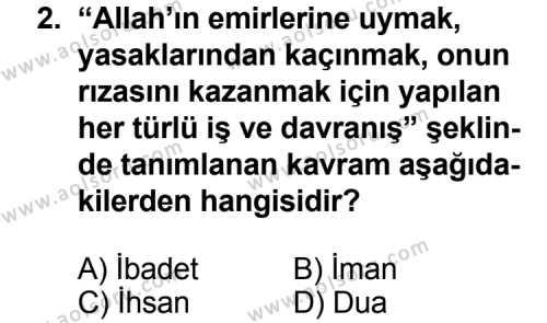Din Kültürü ve Ahlak Bilgisi 3 Dersi 2013 - 2014 Yılı 3. Dönem Sınav Soruları 2. Soru