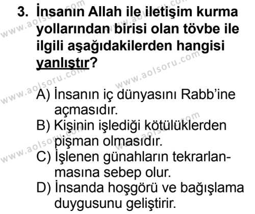 Din Kültürü ve Ahlak Bilgisi 3 Dersi 2013 - 2014 Yılı 3. Dönem Sınav Soruları 3. Soru