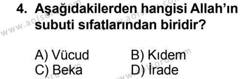 Din Kültürü ve Ahlak Bilgisi 3 Dersi 2013 - 2014 Yılı 3. Dönem Sınav Soruları 4. Soru
