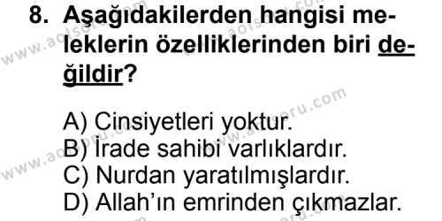 Din Kültürü ve Ahlak Bilgisi 3 Dersi 2014-2015 Yılı 1. Dönem Sınavı 8. Soru