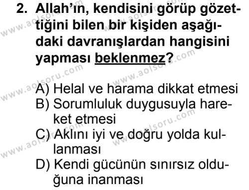 Din Kültürü ve Ahlak Bilgisi 3 Dersi 2014 - 2015 Yılı Ek Sınav Soruları 2. Soru