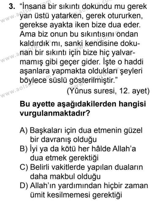 Din Kültürü ve Ahlak Bilgisi 3 Dersi 2017 - 2018 Yılı 2. Dönem Sınavı 3. Soru
