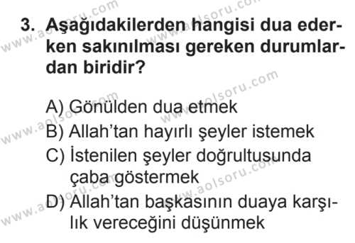 Din Kültürü ve Ahlak Bilgisi 3 Dersi 2017 - 2018 Yılı 3. Dönem Sınavı 3. Soru