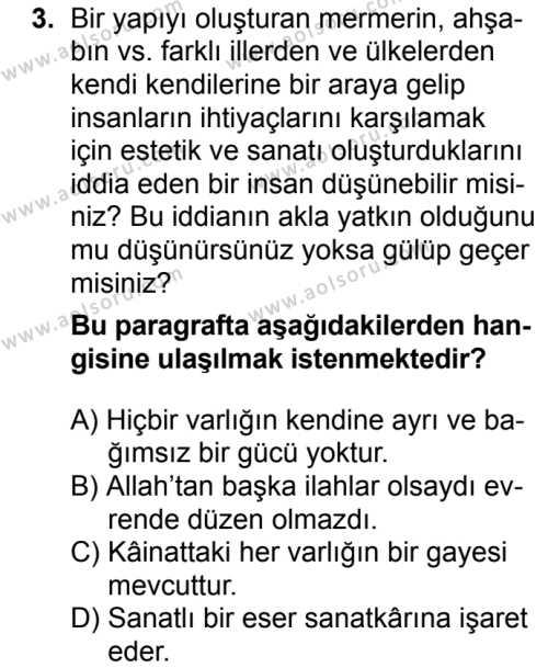 Din Kültürü ve Ahlak Bilgisi 3 Dersi 2018 - 2019 Yılı Ek Sınavı 3. Soru