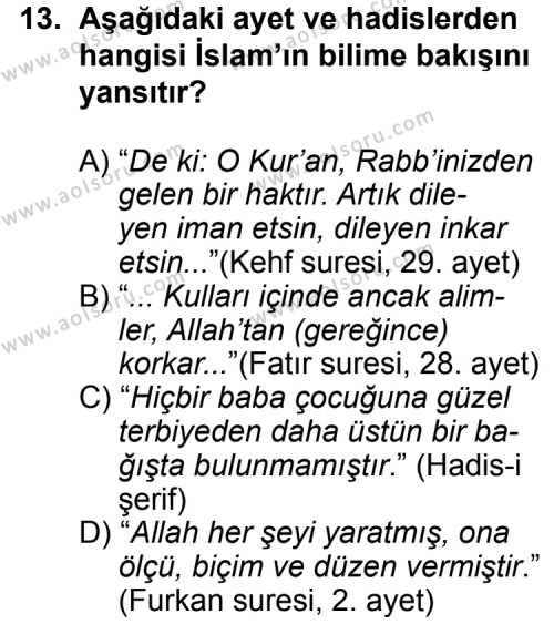 Din Kültürü ve Ahlak Bilgisi 4 Dersi 2013-2014 Yılı 1. Dönem Sınavı 13. Soru