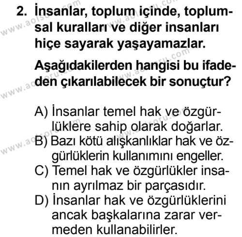 Din Kültürü ve Ahlak Bilgisi 4 Dersi 2013 - 2014 Yılı 3. Dönem Sınav Soruları 2. Soru