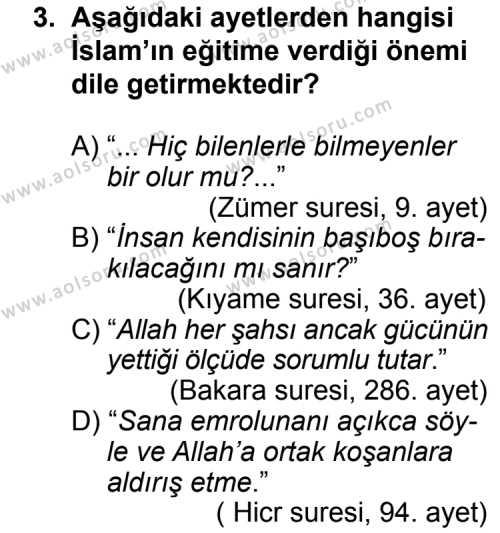 Din Kültürü ve Ahlak Bilgisi 4 Dersi 2013 - 2014 Yılı 3. Dönem Sınav Soruları 3. Soru