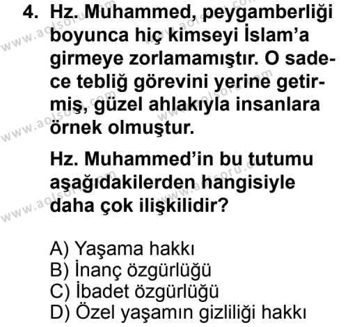 Din Kültürü ve Ahlak Bilgisi 4 Dersi 2013 - 2014 Yılı 3. Dönem Sınav Soruları 4. Soru