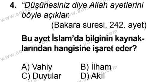 Din Kültürü ve Ahlak Bilgisi 4 Dersi 2014 - 2015 Yılı Ek Sınav Soruları 4. Soru