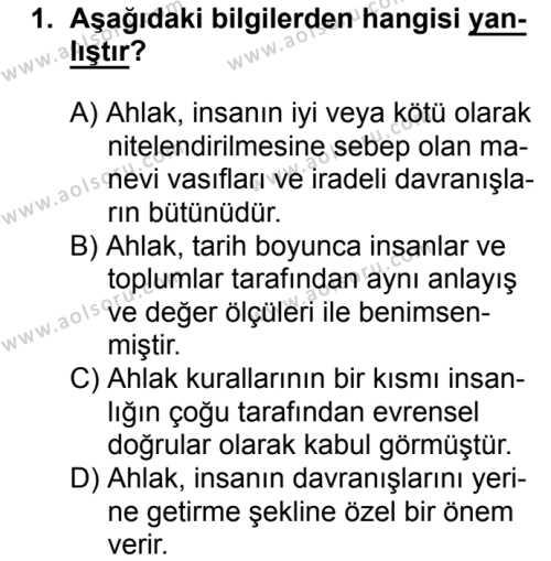 Din Kültürü ve Ahlak Bilgisi 4 Dersi 2018 - 2019 Yılı 3. Dönem Sınavı 1. Soru