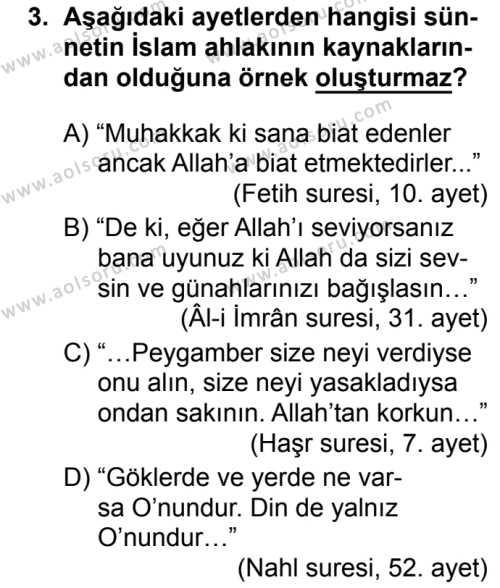 Din Kültürü ve Ahlak Bilgisi 4 Dersi 2018 - 2019 Yılı 3. Dönem Sınavı 3. Soru